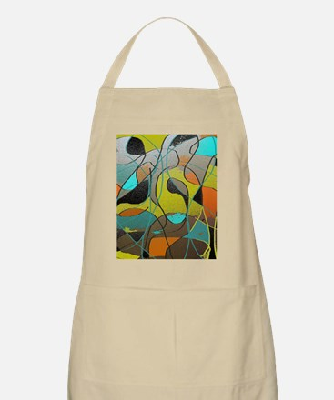 Abstract Art in Orange, Turquoise, Gold, and Apron