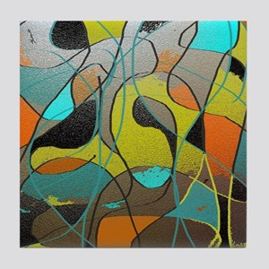 Abstract Art in Orange, Turquoise, Go Tile Coaster