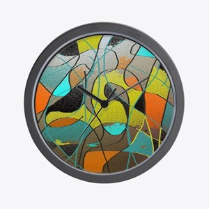 Abstract Art in Orange, Turquoise, Gold Wall Clock