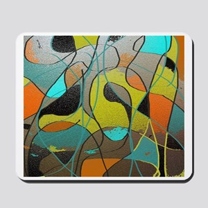 Abstract Art in Orange, Turquoise, Gold, Mousepad