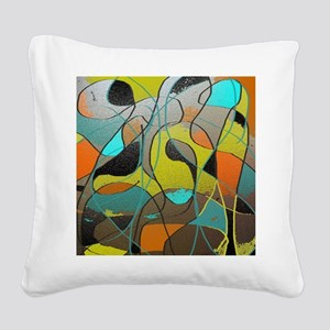Abstract Art in Orange, Turqu Square Canvas Pillow