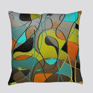 Abstract Art in Orange, Turquoise, Everyday Pillow