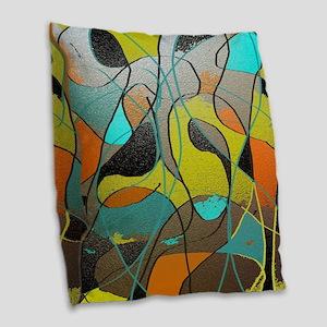 Abstract Art in Orange, Turquo Burlap Throw Pillow