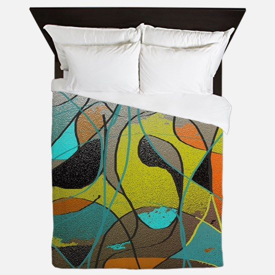 Abstract Art in Orange, Turquoise, Gol Queen Duvet