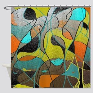 Abstract Art in Orange, Turquoise,  Shower Curtain
