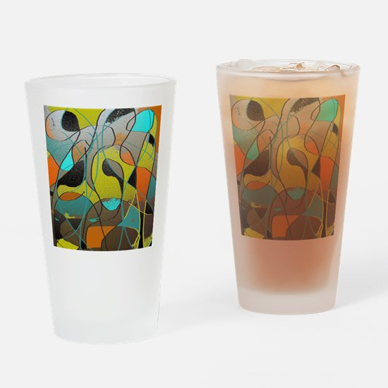 Abstract Art in Orange, Turquoise,  Drinking Glass