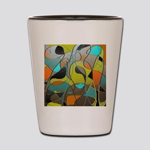 Abstract Art in Orange, Turquoise, Gold Shot Glass