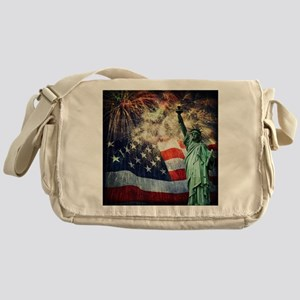 Statue of Liberty &  Fireworks Messenger Bag