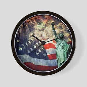 Statue of Liberty &  Fireworks Wall Clock