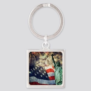 Statue of Liberty &  Fireworks Square Keychain