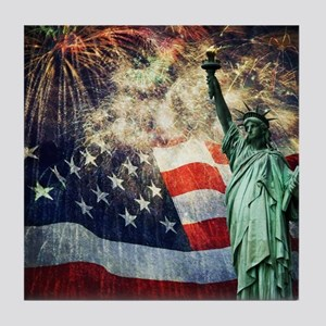 Statue of Liberty &  Fireworks Tile Coaster
