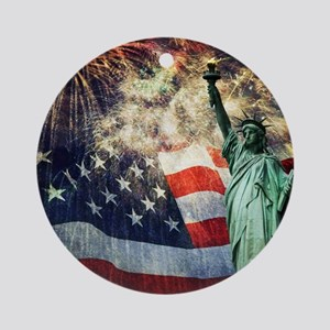 Statue of Liberty &  Fireworks Round Ornament
