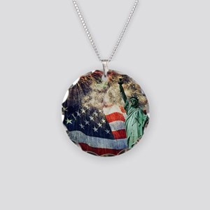 Statue of Liberty &  Firewor Necklace Circle Charm