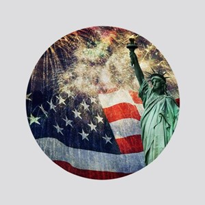 Statue of Liberty &  Fireworks Button
