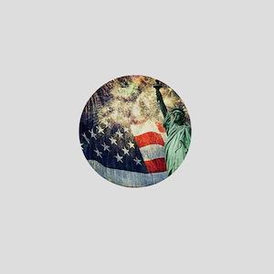 Statue of Liberty &  Fireworks Mini Button