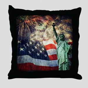 Statue of Liberty &  Fireworks Throw Pillow
