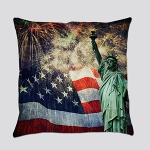 Statue of Liberty &  Fireworks Everyday Pillow
