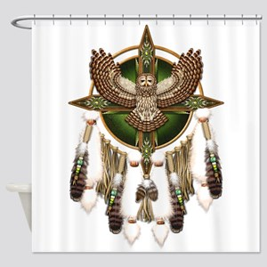 Barred Owl Mandala Shower Curtain