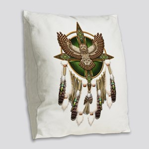Barred Owl Mandala Burlap Throw Pillow