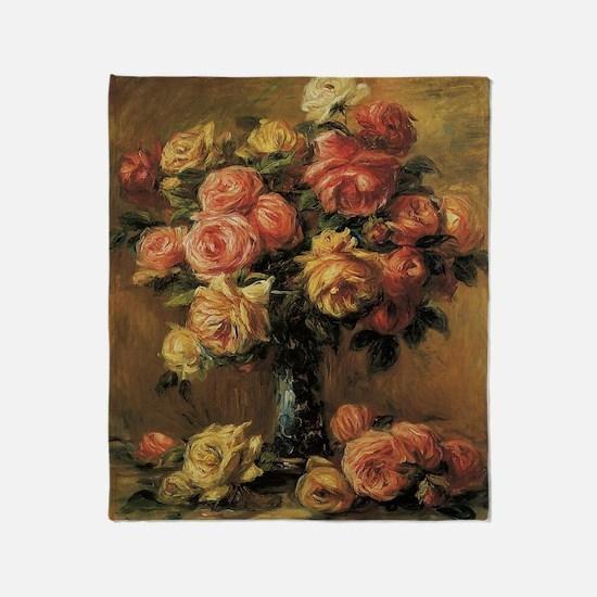 Roses in a Vase by Renoir Throw Blanket