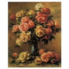 Roses in a Vase by Renoir Poster