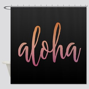 Aloha Pink and Black Shower Curtain