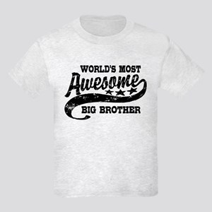 World's Most Awesome Big Brothe Kids Light T-Shirt