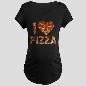 I LOVE PIZZA Maternity Dark T-Shirt
