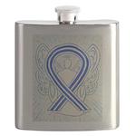 ALS Awareness Ribbon Angel Flask