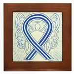 ALS Awareness Ribbon Angel Framed Tile