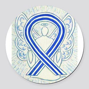 ALS Awareness Ribbon Angel Round Car Magnet