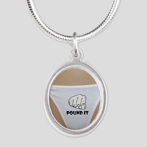 Pound It Silver Oval Necklace