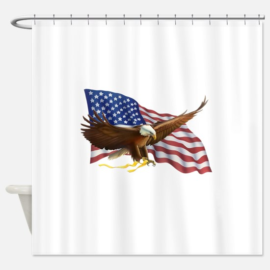 American Flag and Eagle Shower Curtain