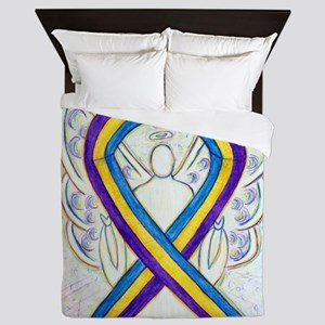 Bladder Cancer Awareness Ribbon Queen Duvet