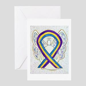 Bladder Cancer Awareness Ribbon Art Greeting Cards