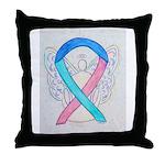 Thyroid Cancer Awareness Ribbon Throw Pillow