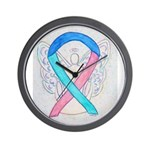 Thyroid Cancer Awareness Ribbon Wall Clock