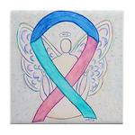 Thyroid Cancer Awareness Ribbon Tile Coaster