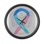 Thyroid Cancer Awareness Ribbon Large Wall Clock