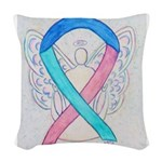 Thyroid Cancer Awareness Ribbon Woven Throw Pillow