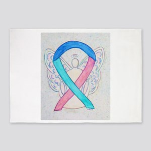 Thyroid Cancer Awareness Ribbon 5'x7'Area Rug