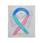 Thyroid Cancer Awareness Ribbon Throw Blanket