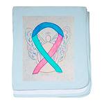 Thyroid Cancer Awareness Ribbon baby blanket