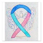 Thyroid Cancer Awareness Ribbon Square Car Magnet