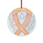 Peach Awareness Ribbon Angel Ornament (Round)