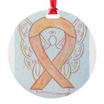 Peach Awareness Ribbon Angel Ornament