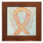 Peach Awareness Ribbon Angel Framed Tile