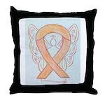 Peach Awareness Ribbon Angel Throw Pillow