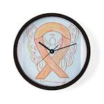 Peach Awareness Ribbon Angel Wall Clock