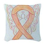 Peach Awareness Ribbon Angel Woven Throw Pillow